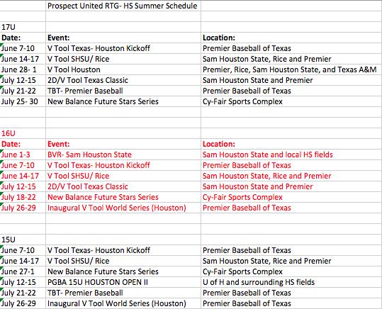 2018 HS Summer Schedule